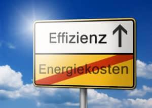 Effizienz Energiekosten Schild Hintergrund